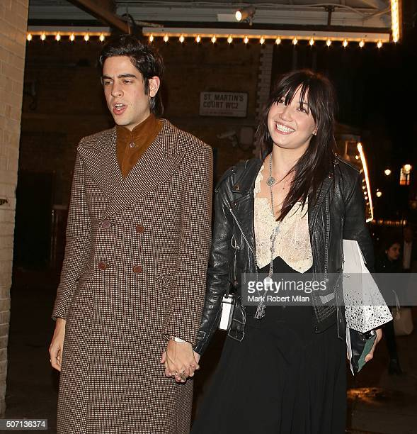 Thomas Cohen and Daisy Lowe leaving J Sheeky restaurant after celebrating daisy's 27th birthday on January 27 2016 in London England
