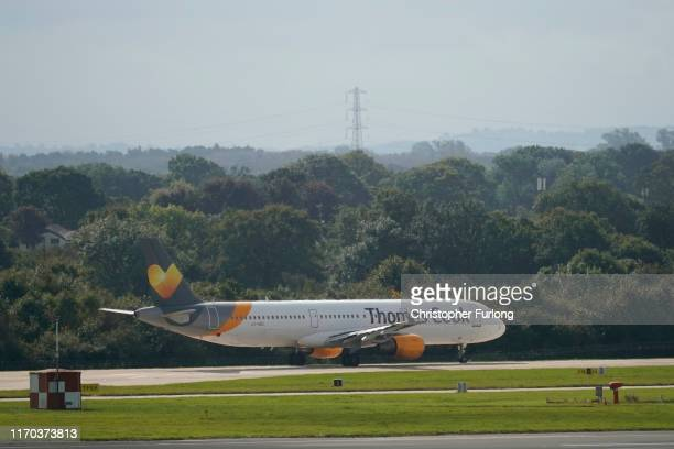 Thomas Cook aircraft taxiing for take off from Manchester airport believed to be heading to Corfu on September 23 2019 in Manchester United Kingdom...