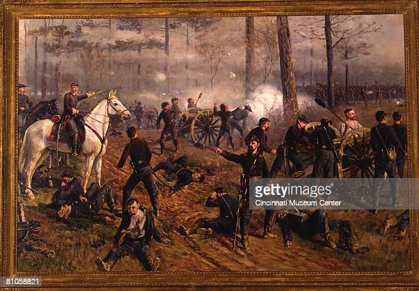 Thomas Corwin Lindsay's 1895 painting 'Hickenlooper's Battery at the Hornet's Nest' depicts American military commander General Benjamin Prentiss as...