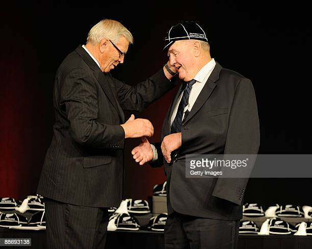 Thomas Coughlan All Black number 592 is capped by NZRU President John Sturgeon during the New Zealand All Blacks Test Capping Ceremony at the...