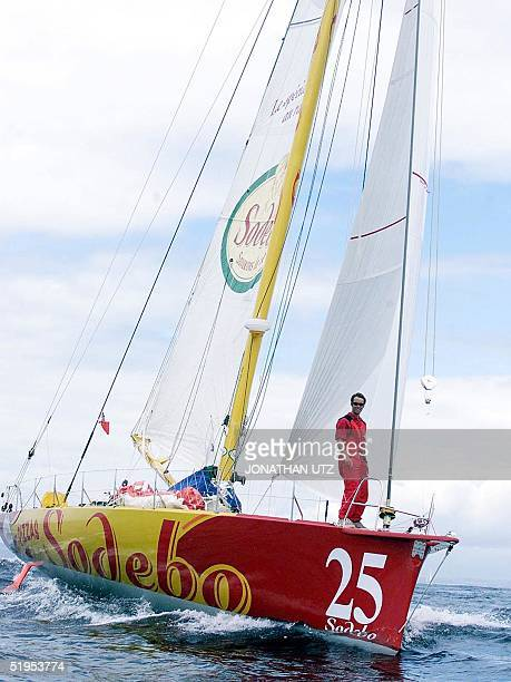 Thomas Coville of France rides on the bow of Sodebo Savourons La Vie shortly after the start of the TRANSAT singlehanded race off of Plymouth 04 June...
