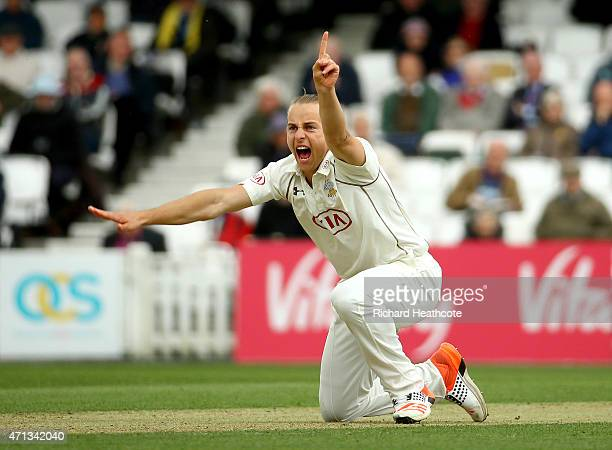 Thomas Curran of Surrey unsucessfully appeals for a wicket during the LV County Championship match between Surrey and Essex at The Kia Oval on April...