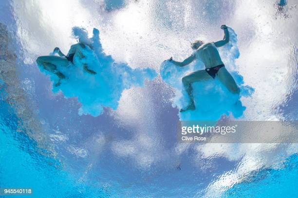 Thomas Daley and Daniel Goodfellow of England compete in the Men's Synchronised 10m Platform Diving Final on day nine of the Gold Coast 2018...