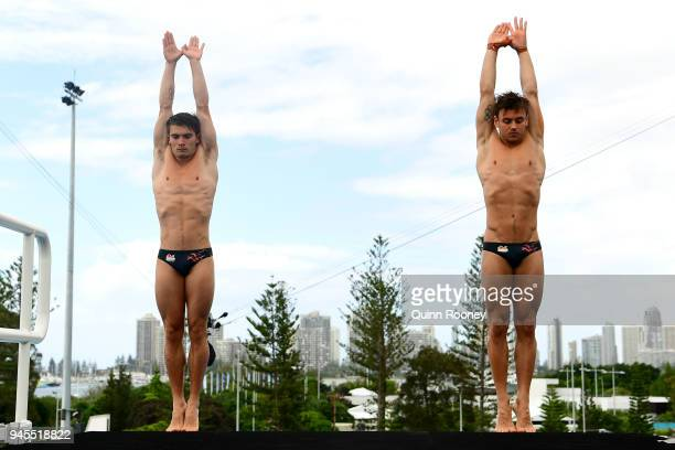 Thomas Daley and Daniel Goodfellow of England train ahead of the Men's Synchronised 10m Platform Diving Final on day nine of the Gold Coast 2018...
