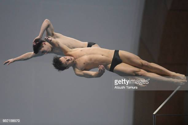 Thomas Daley and Daniel Goodfellow of Great Britain compete in the Men's 10m Synchro Platform final during day one of the FINA Diving World Series...