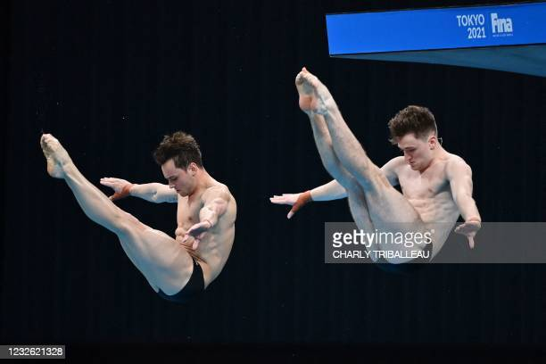 Thomas Daley and Matthew Lee of Britain compete during the men's synchronised 10m platform at the FINA Diving World Cup, which doubles as a test...