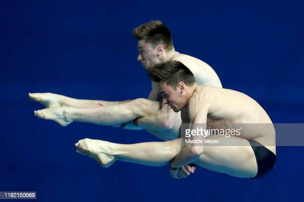 Thomas Daley and Matthew Lee of Great Britain compete in the Men's 10m Synchro Platform Final on day four of the Gwangju 2019 FINA World...