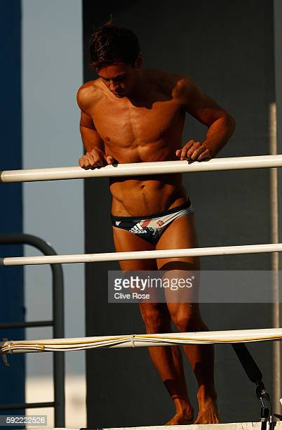 Thomas Daley of Great Britain during the Diving Men's 10m Platform Preliminary on Day 14 of the Rio 2016 Olympic Games at the Maria Lenk Aquatics...
