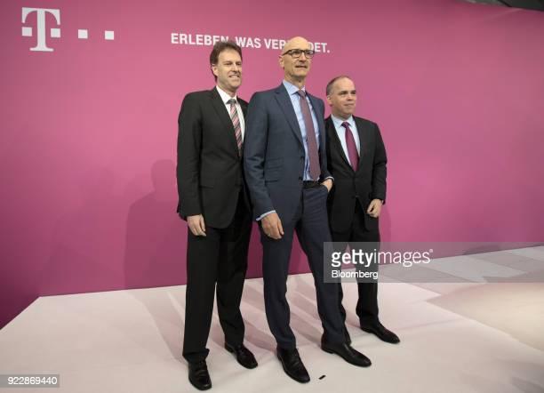 Thomas Dannenfeldt chief financial officer of Deutsche Telekom AG left Tim Hoettges chief executive officer of Deutsche Telekom AG center and Dirk...