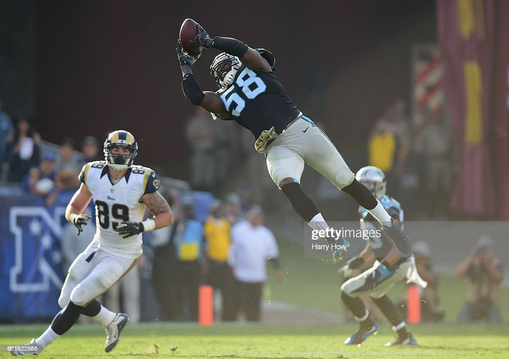 Thomas Davis #58 of the Carolina Panthers catches the ball for an interception during the third quarter of the game against the Los Angeles Rams at the Los Angeles Coliseum on November 6, 2016 in Los Angeles, California.