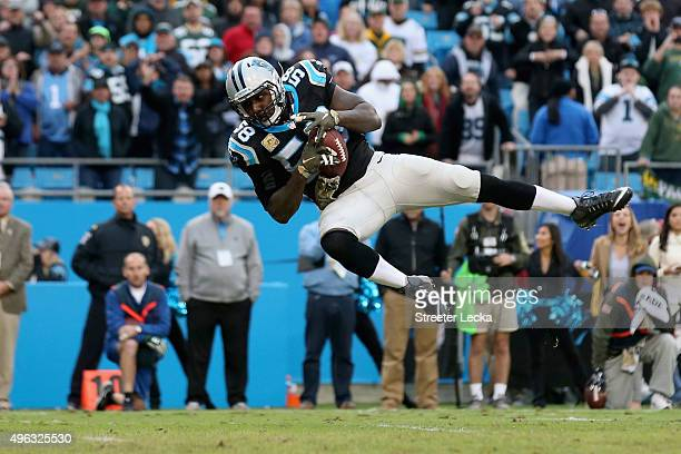Thomas Davis of the Carolina Panthers intercepts a pass against the Green Bay Packers in the final minutes of their game at Bank of America Stadium...
