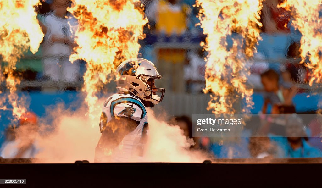 Thomas Davis #58 of the Carolina Panthers is introduced during their preseason game against the Houston Texans at Bank of America Stadium on August 9, 2017 in Charlotte, North Carolina.