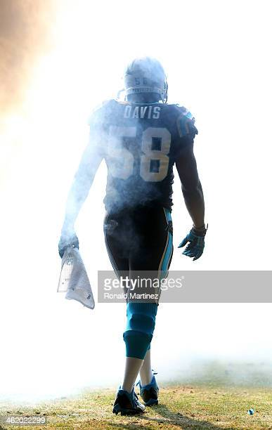 Thomas Davis of the Carolina Panthers runs onto the field during player introductions against the San Francisco 49ers during the NFC Divisional...