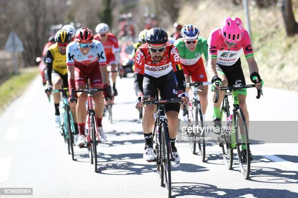 Thomas De Gendt of Belgium and Lotto Soudal / Nils Politt of Germany and KatushaAlpecin / Tom Scully of New Zealand and EF Education FirstDrapac p/b...