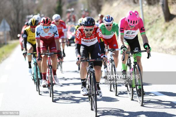 Thomas De Gendt of Belgium and Lotto Soudal / Nils Politt of Germany and KatushaAlpecin / Alexander Kristoff of Norway and UAE Team Emirates / Tom...