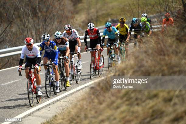 Thomas De Gendt of Belgium and Team Lotto Soudal Blue Points Jersey / James Knox of United Kingdom and Team Deceuninck QuickStep / Alexis Gougeard of...
