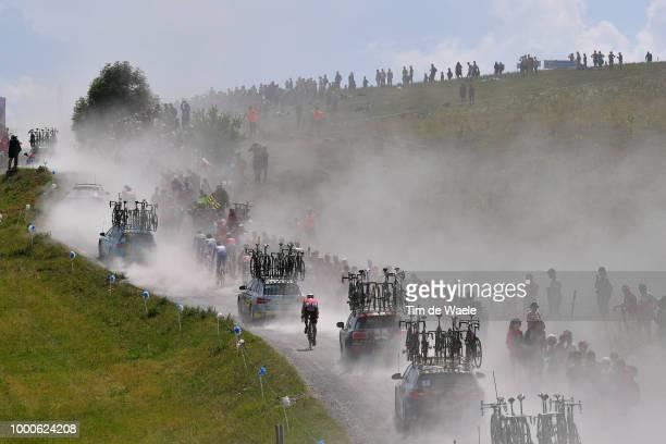 Thomas De Gendt of Belgium and Team Lotto Soudal / Col Des Glières / Dust / Fans / Public / Landscape / Silhouet / Car Caravan / during the 105th...