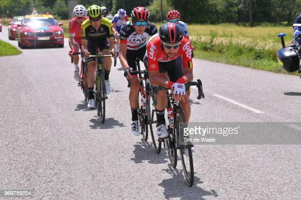 Thomas De Gendt of Belgium and Team Lotto Soudal / Edward Ravasi of Italy and UAE Team Emirates / Carlos Verona of Spain and Team MitcheltonScott /...