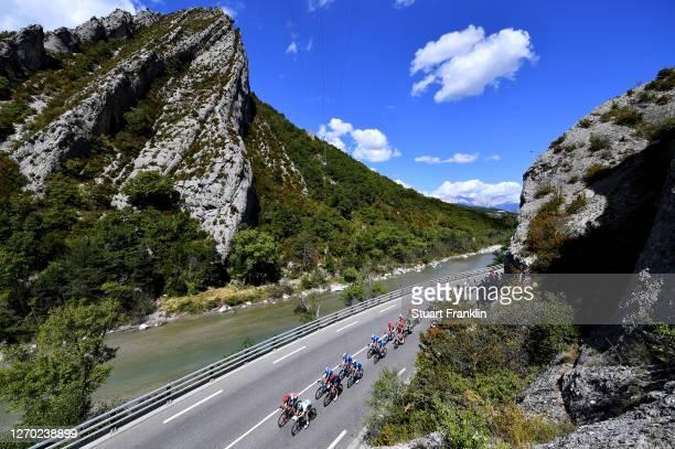 Thomas De Gendt of Belgium and Team Lotto Soudal / Lukas Postlberger of Austria and Team Bora - Hansgrohe / Carlos Verona Quintanilla of Spain and...