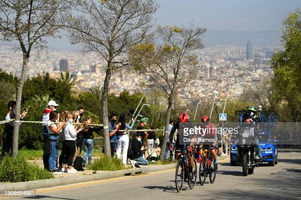 Thomas De Gendt of Belgium and Team Lotto Soudal & Matej Mohoric of Slovenia and Team Bahrain Victorious during the 100th Volta Ciclista a Catalunya...