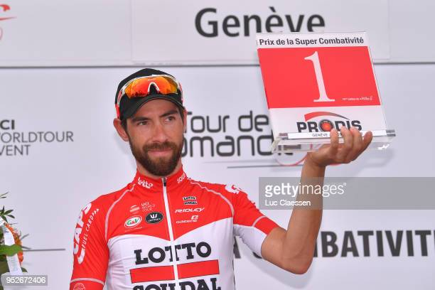 Thomas De Gendt of Belgium and Team Lotto Soudal Overall Most Combative Rider Celebration / during the 72nd Tour de Romandie 2018, Stage 5 a 181,8km...
