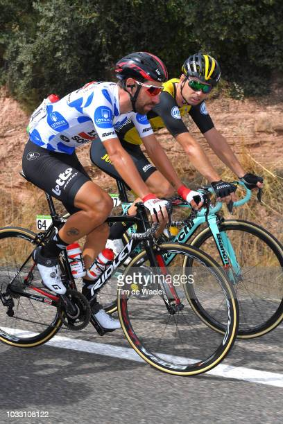 Thomas De Gendt of Belgium and Team Lotto Soudal Polka dot mountain jersey / Bert-jan Lindeman of The Netherlands and Team LottoNL - Jumbo / during...