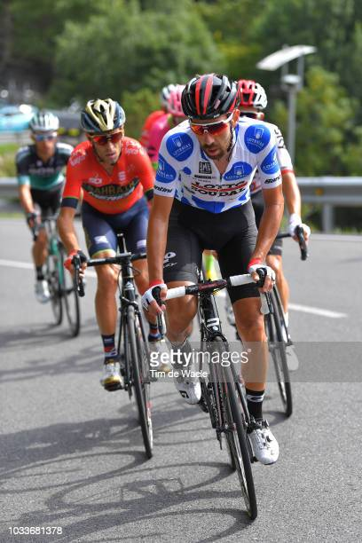 Thomas De Gendt of Belgium and Team Lotto Soudal Polka Dot Mountain Jersey / Vincenzo Nibali of Italy and Bahrain Merida Pro Cycling Team / during...