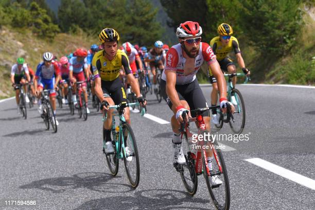 Thomas De Gendt of Belgium and Team Lotto Soudal / Sepp Kuss of The United States and Team Jumbo-Visma / during the 74th Tour of Spain 2019, Stage 9...