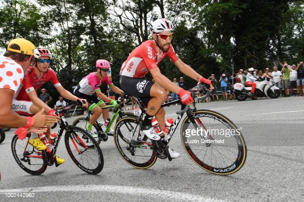 Thomas De Gendt of Belgium and Team Lotto Soudal / Thomas Scully of Australia and Team EF Education First Drapac P/B Cannondale / Dimitri Claeys of...