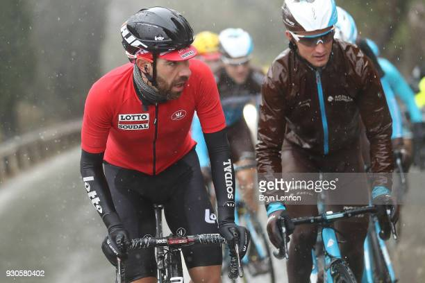 Thomas de Gendt of Belgium / Polka dot jersey / mnountains jersey / podium / on March 11 2018 in Nice France