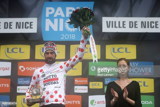 Thomas de Gendt of Belgium / Polka jersey / mnountains jersey / podium / on March 11 2018 in Nice France