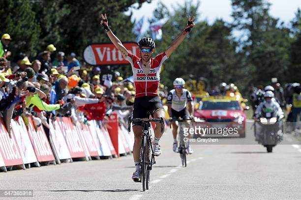Thomas De Gendt of Belgium riding for Lotto Soudal celebrates as he wins stage twelve, a 178km stage from Monpellier to Chalet-Reynard near the Mont...