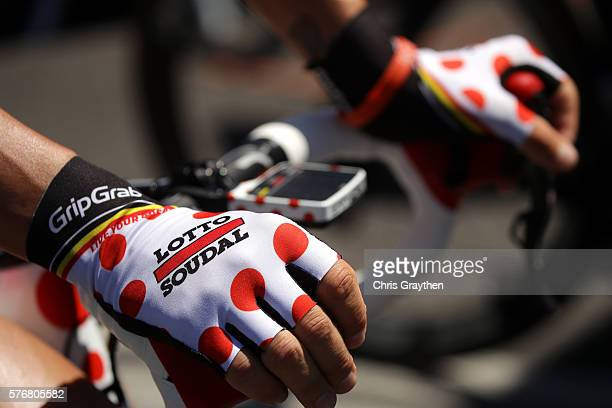 Thomas De Gendt of Belgium riding for Lotto Soudal prepares to start during stage fifteen of the 2016 Le Tour de France a 160km stage from BourgEn...