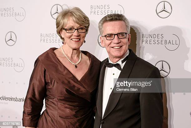 Thomas de Maiziere and his wife Martina de Maiziere attend the 65th Bundespresseball at Hotel Adlon on November 25, 2016 in Berlin, Germany.
