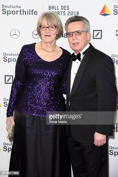 Thomas de Maiziere and his wife Martina de Maiziere attend the German Sports Gala 'Ball Des Sports' 2018 on February 3, 2018 in Wiesbaden, Germany.