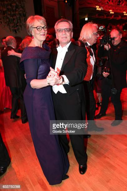 Thomas de Maiziere and his wife Martina de Maiziere dance during the Semper Opera Ball 2017 at Semperoper on February 3, 2017 in Dresden, Germany.