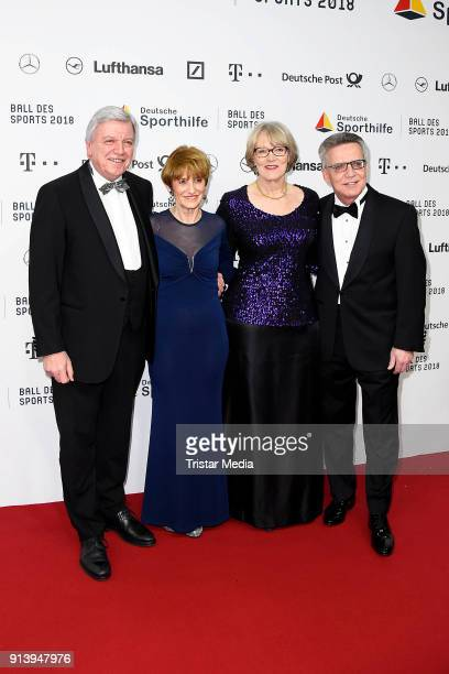 Thomas de Maiziere and his wife Martina de Maiziere, Volker Bouffier and his wife Ursula Bouffier attend the German Sports Gala 'Ball Des Sports'...