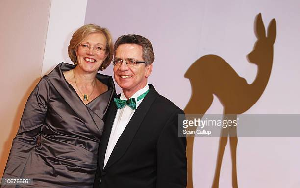 Thomas de Maiziere and Martina de Maiziere arrive for the Bambi 2010 Award at Filmpark Babelsberg on November 11 2010 in Potsdam Germany