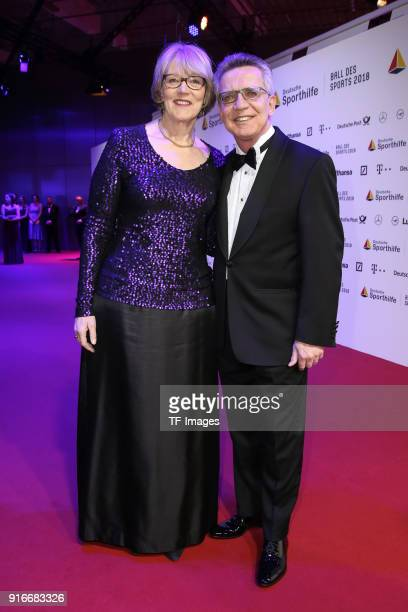 Thomas de Maiziere and Martina de Maiziere attend the German Sports Gala 2018 'Ball Des Sports' on February 3, 2018 in Wiesbaden, Germany.