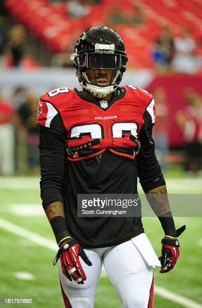 Thomas DeCoud of the Atlanta Falcons warms up before the game against the St Louis Rams at the Georgia Dome on September 15 2013 in Atlanta Georgia