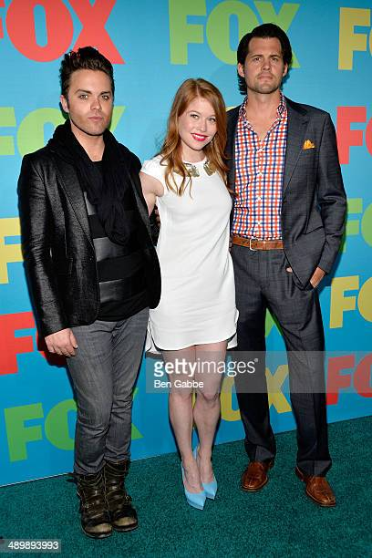 Thomas Dekker Genevieve Angelson and Kristoffer Polaha from the cast of Backstrom attend the FOX 2014 Programming Presentation at the FOX Fanfront on...