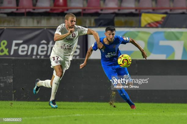 Victorien Angban of Metz during the Ligue 2 match between Beziers and FC Metz at Stade de la Mediterranee on September 17 2018 in Beziers France