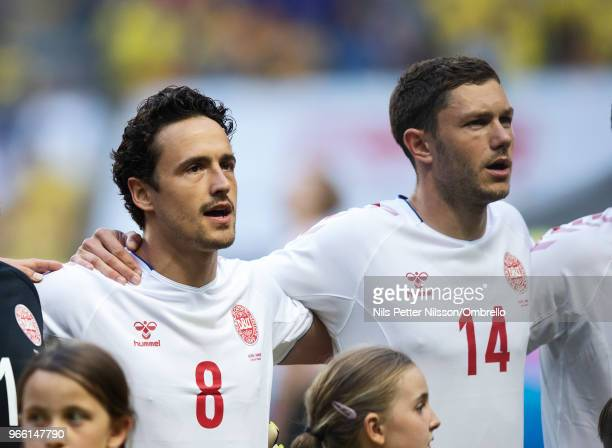 Thomas Delaney and Henrik Dalsgaard of Denmark ahead of the International Friendly match between Sweden and Denmark at Friends Arena on June 2 2018...