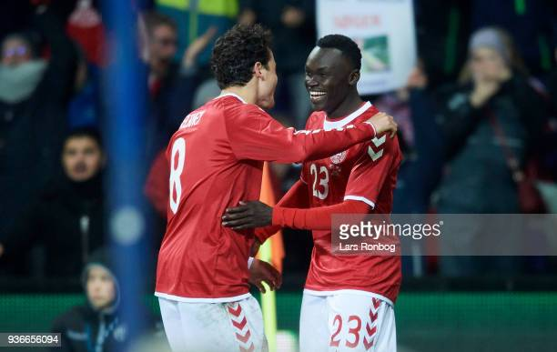 Thomas Delaney and Pione Sisto of Denmark celebrate after scoring their first goal during the International friendly match between Denmark and Panama...