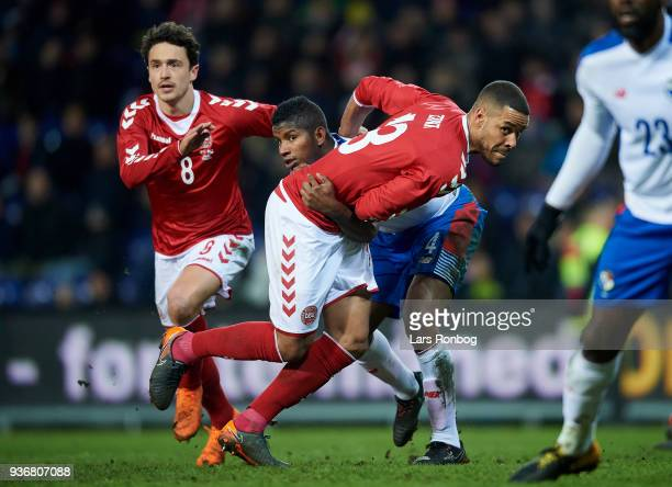 Thomas Delaney Fidel Escobar of Panama and Mathias Zanka Jorgensen of Denmark compete for the ball during the International friendly match between...