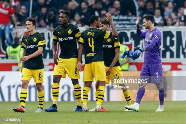 Thomas Delaney of Borussia Dortmund DanAxel Zagadou of Borussia Dortmund Abdou Diallo of Borussia Dortmund Achraf Hakimi of Borussia Dortmund...