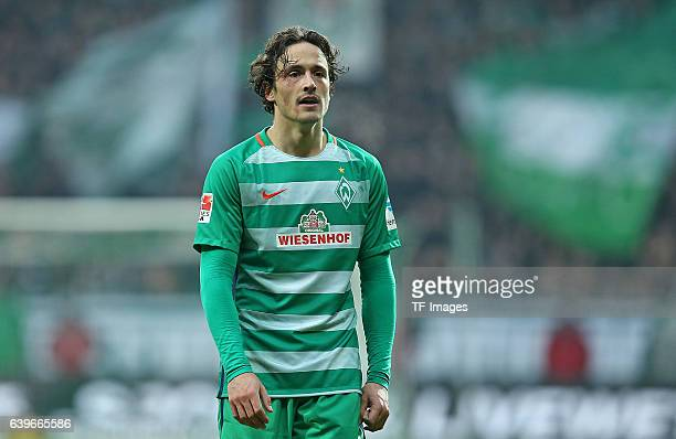 Thomas Delaney of Bremen looks on during the Bundesliga match between Werder Bremen and Borussia Dortmund at Weserstadion on January 21 2017 in...