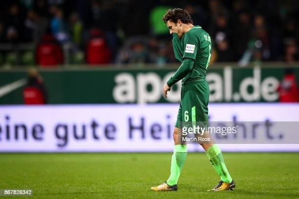 Thomas Delaney of Bremen reacts after the Bundesliga match between SV Werder Bremen and FC Augsburg at Weserstadion on October 29 2017 in Bremen...