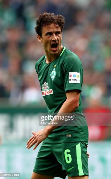 Thomas Delaney of Bremen reacts during the Bundesliga match between SV Werder Bremen and SportClub Freiburg at Weserstadion on September 23 2017 in...