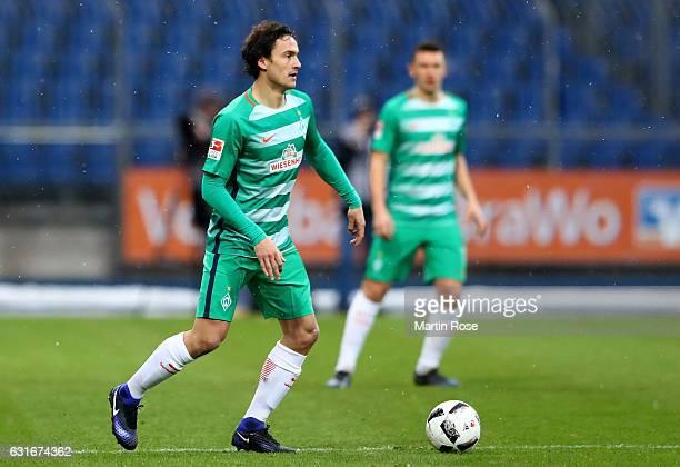 Thomas Delaney of Bremen runs with the ball during the friendly match between Eintracht Braunschweig and Werder Bremen at Eintracht Stadion on...